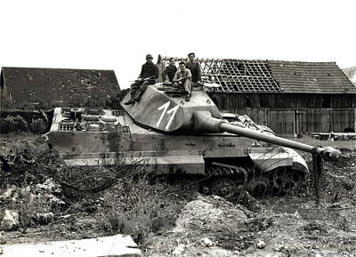 Wwii Allied Soldiers Atop German Tank Art Print by Historic Image