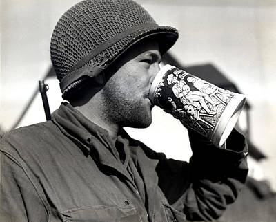 Decor Photograph - Wwii American Soldier Drinking Beer by Historic Image