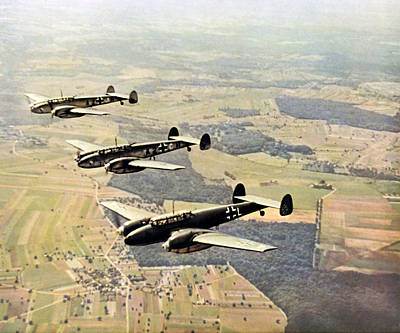 Painting - Wwii Formation Of German Luftwaffe Bf-100 by Historic Image