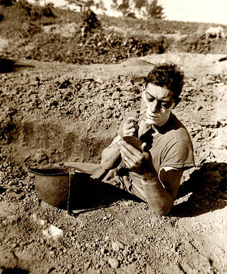 Photograph - Wwii Foxhole Shave by Historic Image