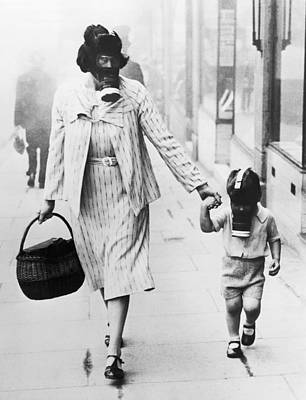 Two People Holding Hands Photograph - Wwii Gas Drill In Wembley by Underwood Archives