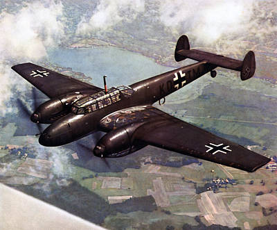 Painting - Wwii German Bf-110 In Flight by Historic Image