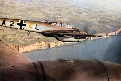 Painting - Wwii German Bf-110 Over English Channel by Historic Image