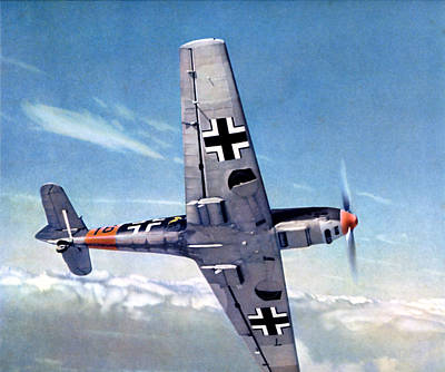 Painting - Wwii German Me-109 Aircraft In Flight by Historic Image