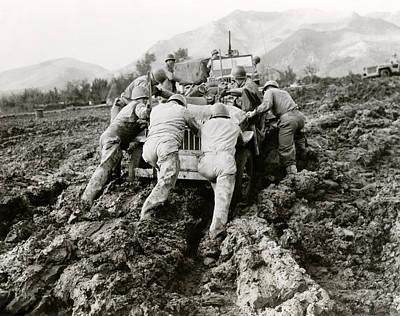 Photograph - Wwii Jeep Stuck In Italian Mud by Historic Image