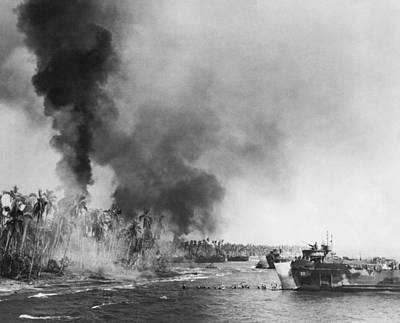 Destruction Island Photograph - Wwii Landing At Leyte Island by Underwood Archives