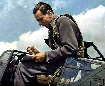 Painting - Wwii Luftwaffe Test Pilot Fritz Wendel by Historic Image