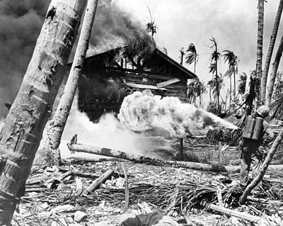 Destruction Island Photograph - Wwii Marine Flamethrower by Underwood Archives