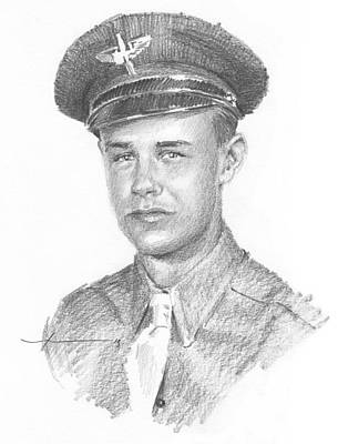 Wwii Military Dad Pencil Portrait Art Print by Mike Theuer