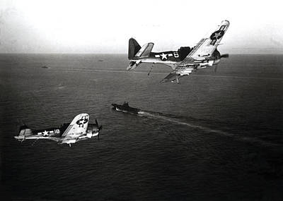 Wwii Navy Dive Bombers Headed Home Art Print by Historic Image