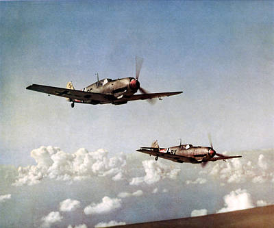 Painting - Wwii Pair Of German Me-109 In Flight by Historic Image