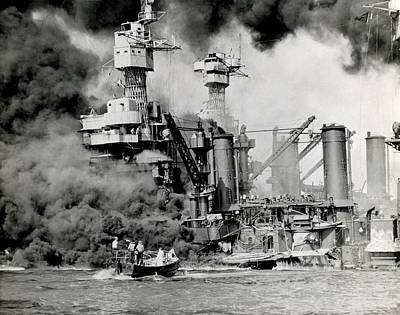 Wwii Pearl Harbor Attack Art Print by Historic Image