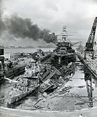 Wwii Ruins Of Us Navy Drydock Art Print
