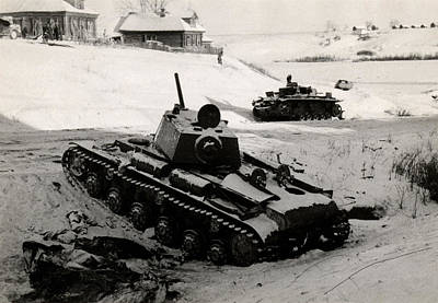 Wwii Russian And German Tanks Eastern Front Art Print by Historic Image