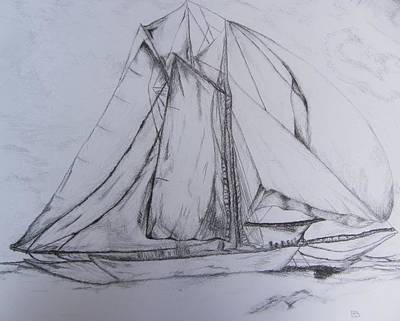 Drawing - Wwii Schooner Brilliant Modification by Debbie Nester