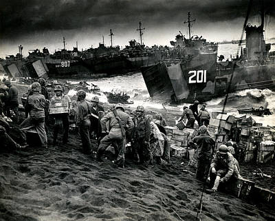 Fifth Generation Photograph - Wwii Supplies On Iwo Jima by Historic Image