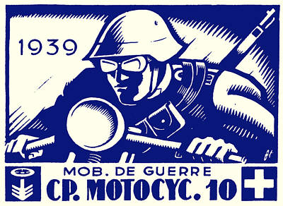 Two Bikes Painting - Wwii Swiss Motorcycle Company by Historic Image