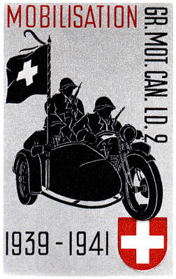 Painting - Wwii Swiss Recon Motorcycle by Historic Image