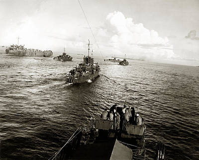 Wwii Us Navy In Philippine Waters Art Print by Historic Image