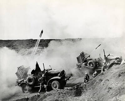 Wwii Usmc Rockets On Iwo Jima Art Print