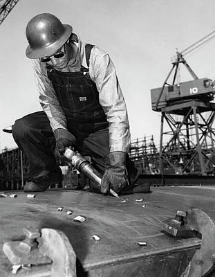 Photograph - Wwii Worker At Terminal Island by California Shipbuilding Corporat
