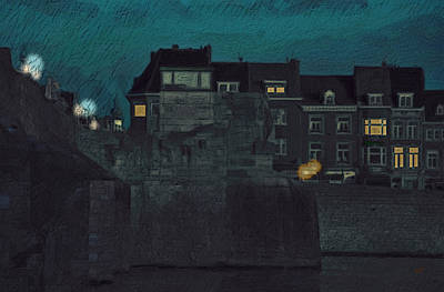 Sint Servaasbrug Painting - Wyck By Night by Nop Briex