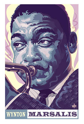 Jazz Painting Royalty Free Images - Wynton Marsalis Portrait Royalty-Free Image by Garth Glazier