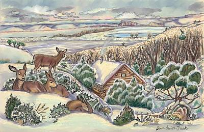 Drawing - Wyoming Christmas by Dawn Senior-Trask