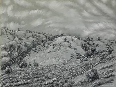 Drawing - Wyoming Foothills And Draw by Dawn Senior-Trask