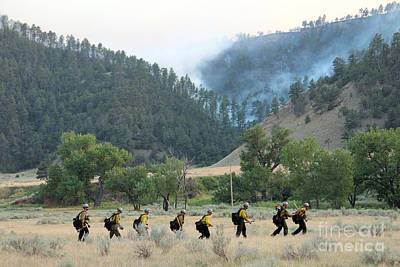 Print featuring the photograph Wyoming Hot Shots Walk To Their Assignment by Bill Gabbert