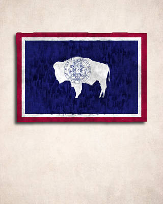 Wyoming Map Digital Art - Wyoming Map Art With Flag Design by World Art Prints And Designs