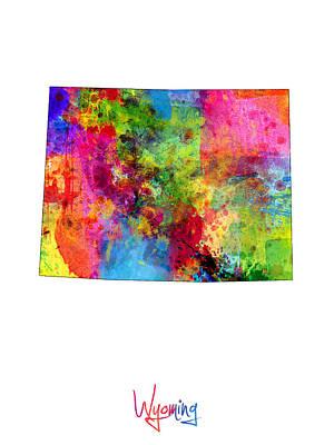 Digital Art - Wyoming Map by Michael Tompsett