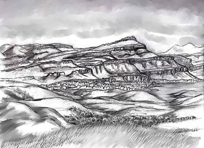 Drawing - Wyoming Overland Trail View by Dawn Senior-Trask