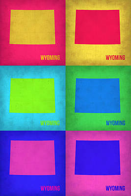 Modern Poster Painting - Wyoming Pop Art Map 1 by Naxart Studio