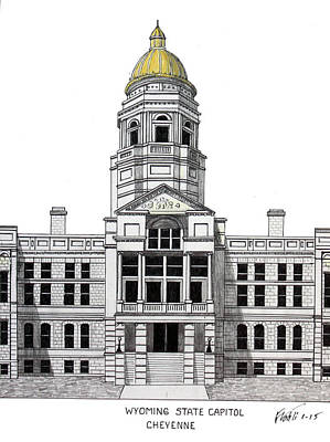 Drawing - Wyoming State Capitol by Frederic Kohli