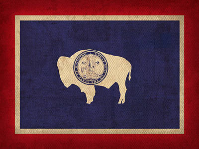 Wyoming State Flag Art On Worn Canvas Art Print