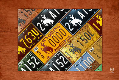 Wyoming Mixed Media - Wyoming State License Plate Map by Design Turnpike