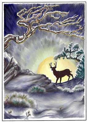 Drawing - Wyoming Winter Moonrise by Dawn Senior-Trask