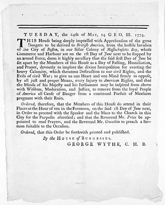 Wythe: Broadside, 1774 Art Print by Granger