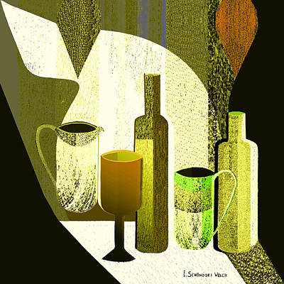 Painting -  906 -  Drinking Mood ... by Irmgard Schoendorf Welch