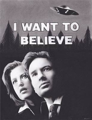 Believe Drawing - X Files I Want To Believe by Brittni DeWeese