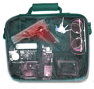 Terrorist Photograph - X-ray Of A Briefcase With A Gun by Scott Camazine