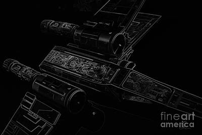 Digital Art - X Wing Fighter Bw by Chris Thomas