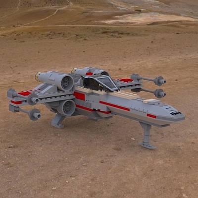 Lego Star Wars Digital Art - X-wing On The Ground by John Hoagland
