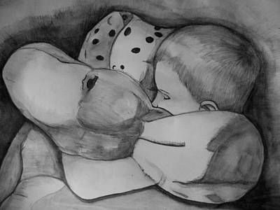 Justin Moore Drawing - Xander Sleeping by Justin Moore