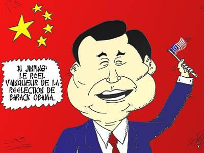 Obama Mixed Media - Xi Jinping Aime Amerique by OptionsClick BlogArt