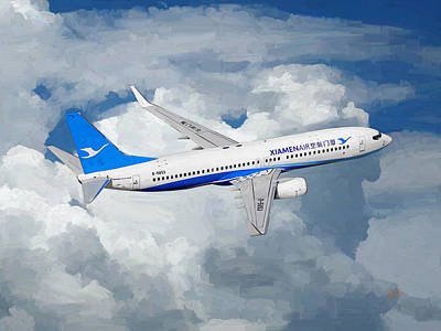 Painting - Xiamen Airlines Boeing 737 800 by Nop Briex