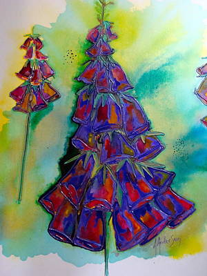 Foxglove Flowers Mixed Media - Xmas Foxglove by Antoinette  Andersen