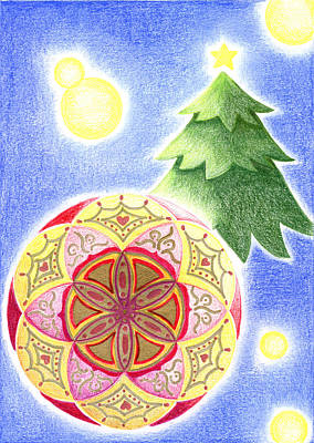 Art Print featuring the drawing X'mas Ornament by Keiko Katsuta