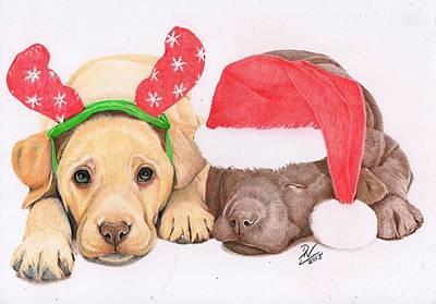 Xmas Pups Art Print by Deborah Nicholas